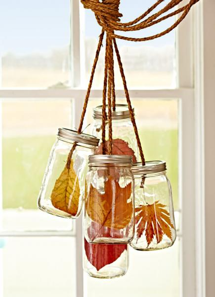 Fall Home Decor Ideas - Leaves in Jars