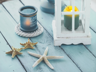 Staycation-Ready Summer Decor - shells and lantern