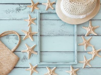 Staycation-Ready Summer Decor - shells and frame