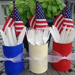 13 Easy Tips for a Star-Spangled Fourth of July Party - cans